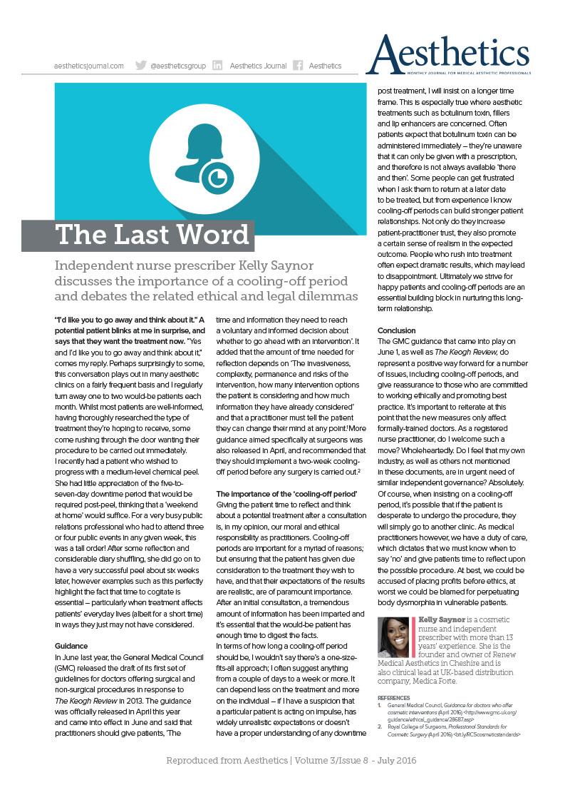 Aesthetics Medicine magazine, Kelly Saynor